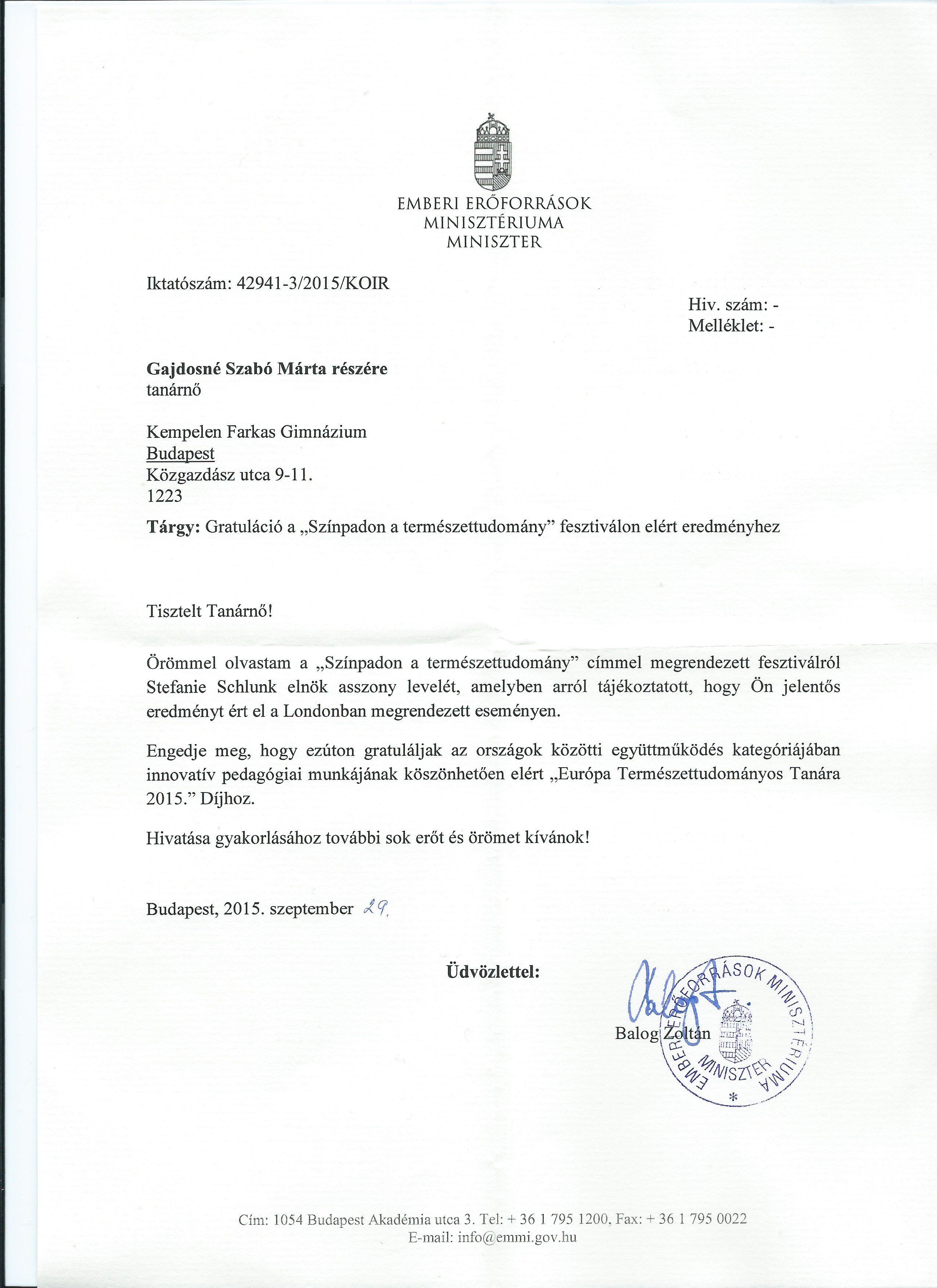 Balog Zoltán gratuláló levele Gajdosné Szabó Mártának